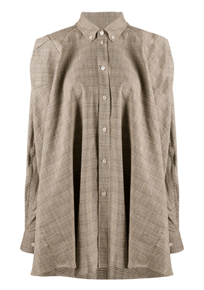 Y/Project asymmetrical checkered shirt - NEUTRALS