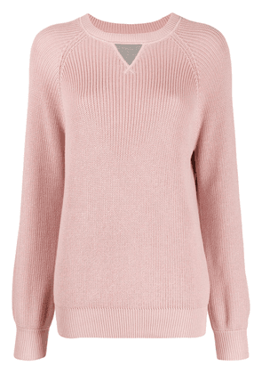 Brunello Cucinelli contrasting-detail knitted jumper - PINK
