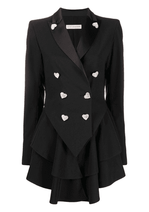 Silvia Astore double breasted pleated blazer - Black