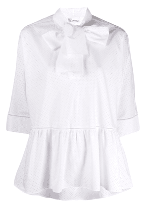 RedValentino poplin bow-embellished perforated blouse - White