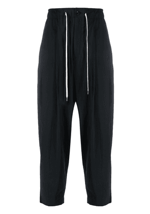 Attachment crinkled effect drawstring trousers - Black