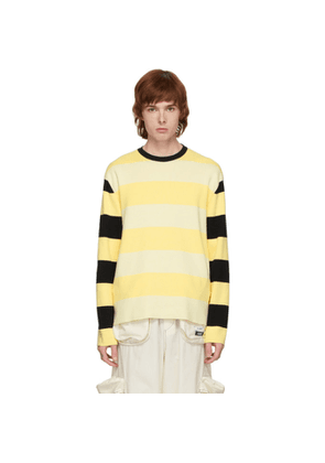 Sunnei Black and Off-White Striped Sweater