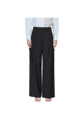 Tibi Navy Wool Pleated Cargo Trousers