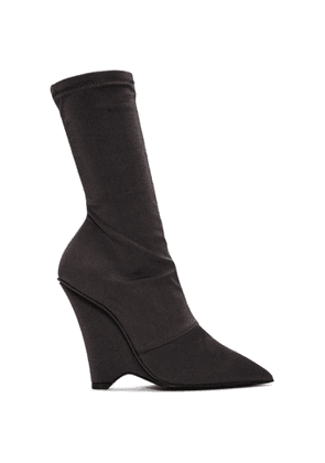 YEEZY Black Satin Stretch Wedge Boots
