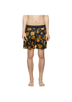 Versace Jeans Couture Black and Yellow Baroque Shorts