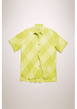 Acne Studios FN-MN-SHIR000198 Soft yellow/sharp yellow  Short-sleeved checked shirt