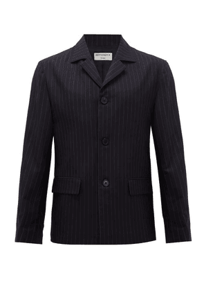 Éditions M.R - Minimal Single-breasted Pinstriped Crepe Blazer - Mens - Navy Multi
