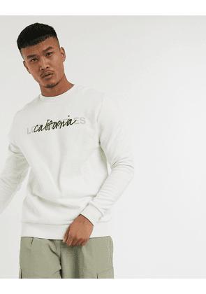 ASOS DESIGN sweatshirt in white with california city print