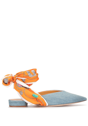 Giannico point-toe ankle-wrap mules - Blue