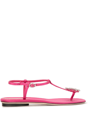 Giannico crystal-embellished satin sandals - PINK