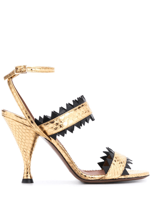 L'Autre Chose snakeskin effect 100mm sandals - GOLD