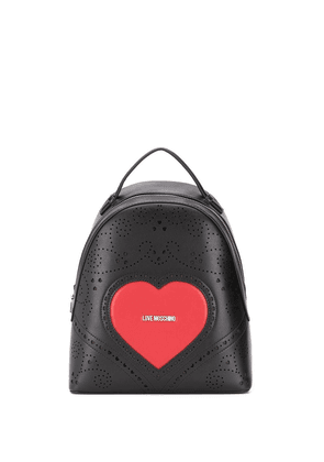 Love Moschino heart embroidery backpack - Black