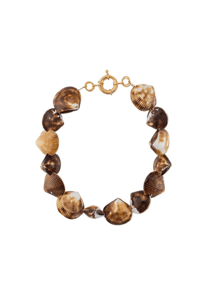 Timeless Pearly charm embellished necklace - Brown