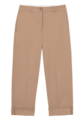 Burberry Icon Stripe Detail Stretch Cotton Cropped Trousers - Brown