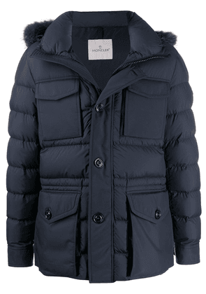 Moncler padded button-front coat - Blue