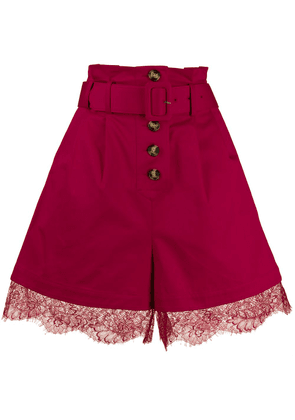 Self-Portrait lace trim belted shorts - PINK