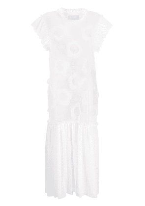 Viktor & Rolf floral applique detail sheer panel dress - White