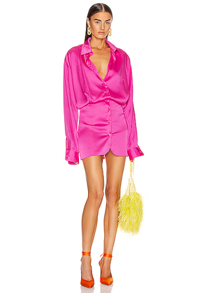 ATTICO Long Sleeve Mini Dress in Fuchsia - Pink. Size 42 (also in ).