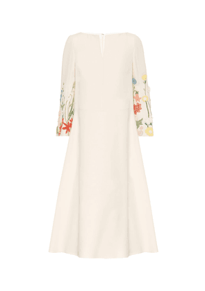 Embroidered wool-blend midi dress