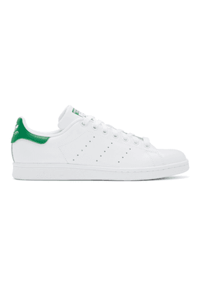 adidas Originals White and Green Stan Smith Sneakers