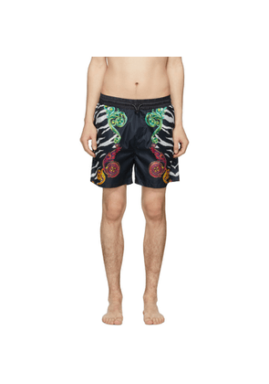 Versace Jeans Couture Black Baroque Animal Print Shorts