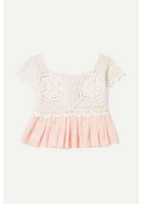 Innika Choo Kids - Crocheted Cotton And Ramie Top - Peach
