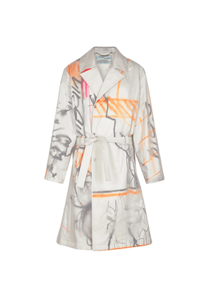 Off-White Printed Shell And Cotton Trench Coat
