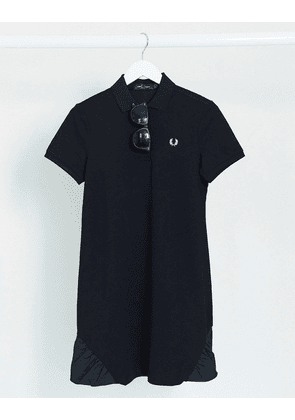 Fred Perry frill detail pique dress in black