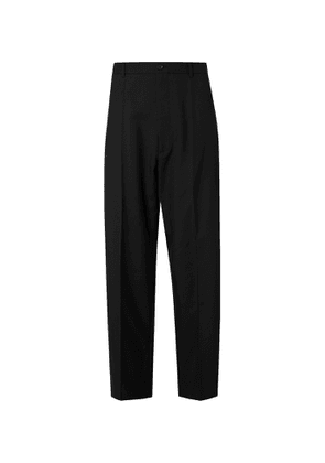 Balenciaga - Pleated Wool-Blend Twill Trousers - Men - Black