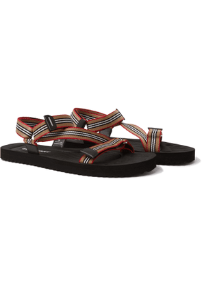 Burberry - Striped Webbing and Rubber Sandals - Men - Neutrals