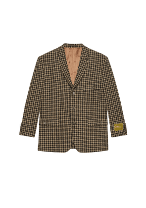 Check wool jacket with Gucci label