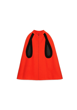 Wool cape with contrast trims