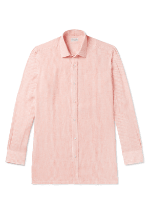 Charvet - Striped Linen Shirt - Men - Orange