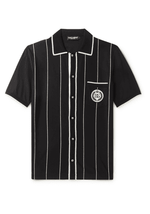Dolce & Gabbana - Logo-Appliquéd Pinstriped Cotton-Blend Polo Shirt - Men - Black
