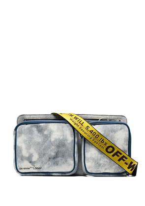 Off-White blue and yellow bleached denim crossbody bag