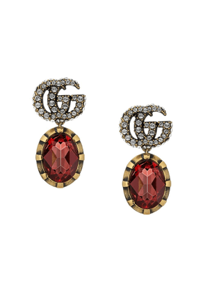 Gucci GG crystal drop earrings - Red