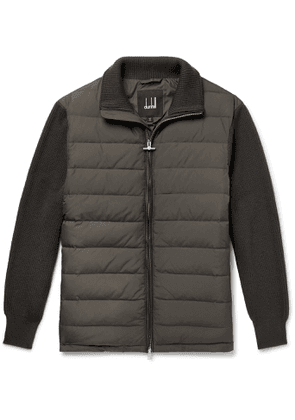 Dunhill - Ribbed Merino Wool-Blend and Quilted Shell Down Jacket - Men - Gray
