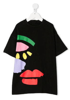 Stella McCartney Kids Graphic Face short-sleeve dress - Black