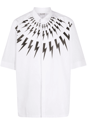 Neil Barrett Thunderbolt-print short-sleeved shirt - White