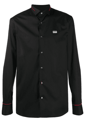 Philipp Plein contrast stitch long sleeve shirt - Black