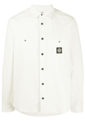 Stone Island long sleeve logo patch shirt - White