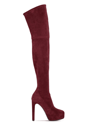 120mm Stretch Suede Over The Knee Boots