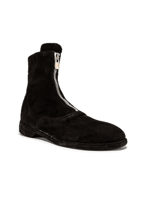 Guidi Stag Suede Zipper Boots in Black - Black. Size 43 (also in 40,42).