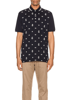 Gucci Symbols Embroidered Polo in Navy & Multi - Abstract,Blue,Stars. Size M (also in S,XL,XS).