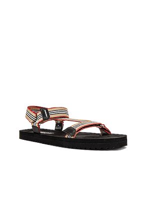Burberry Patterson Webbing Sandal in Archive Beige - Neutral,Stripes. Size 41 (also in 43,44,45).