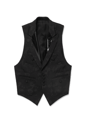 TAKAHIROMIYASHITA TheSoloist. - Mickey Mouse Patent Leather-Trimmed Wool-Blend Jacquard Waistcoat - Men - Black