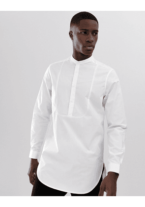 ASOS DESIGN regular fit overhead longline shirt with bib detail in white