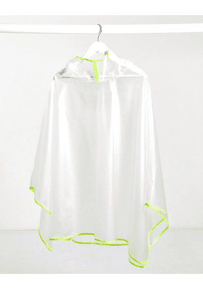 ASOS DESIGN festival cape in clear plastic with neon details