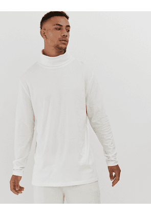ASOS DESIGN relaxed longline long sleeve t-shirt with cowl neck in off white