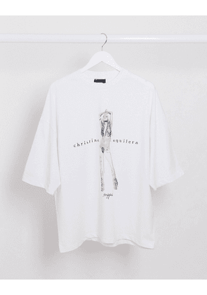 ASOS DESIGN Christina Aguilera oversized t-shirt with large front print-White